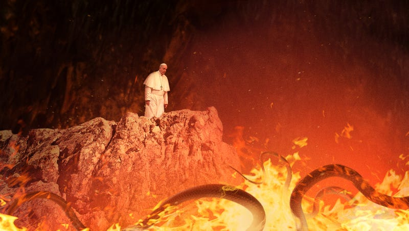 Illustration for article titled Pope Francis Finds Self In Hell After Taking Wrong Turn In Vatican Catacombs