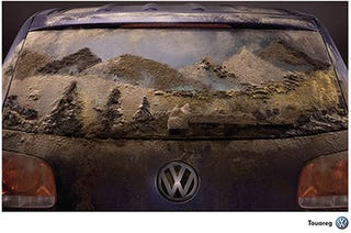 Illustration for article titled VW Jumps On Dirt Car Art Bandwagon With Touareg Ad