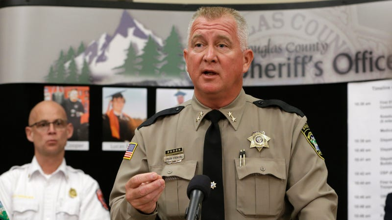 Douglas County Sheriff John Hanlin at a press conference about the Umpqua Community College mass shooting