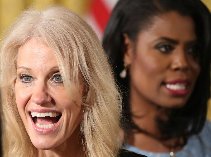 Kellyanne Conway and Omarosa Manigault Newman at an event celebrating Women's History Month in the East Room at the White House in Washington, D.C.., on March 29, 2017 (Mark Wilson/Getty Images)