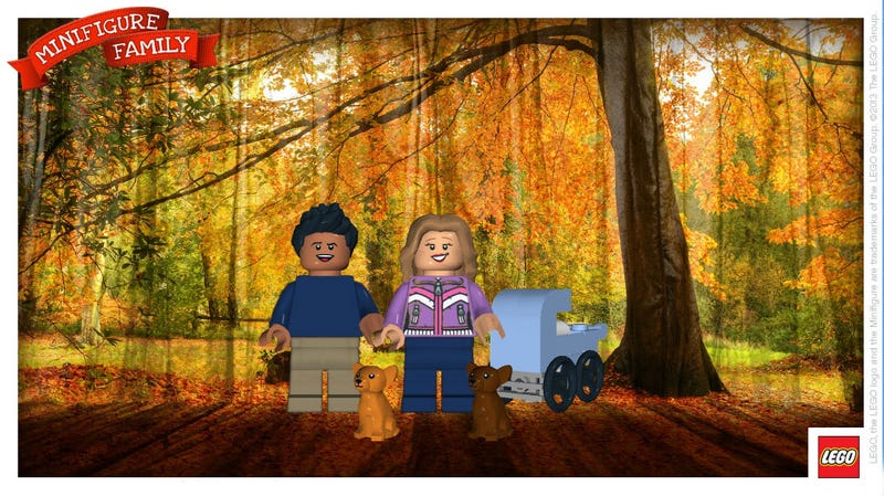 Illustration for article titled Create customized minifigure holiday cards with this app