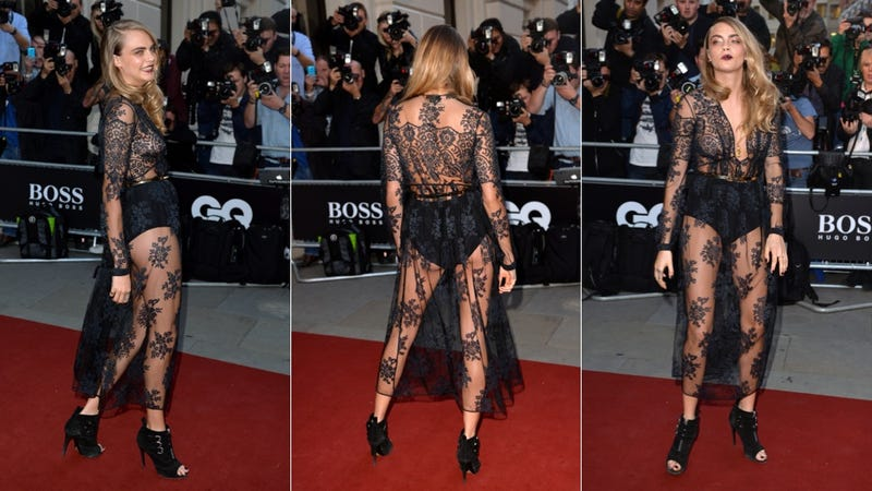 Illustration for article titled Cara Delevingne's Red Carpet Ensemble Is Sheer Madness