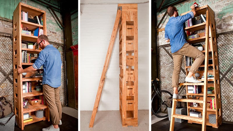 A Secret Pop Out Ladder Ensures Nothing Is Ever Of Reach On This Extra Tall Shelf
