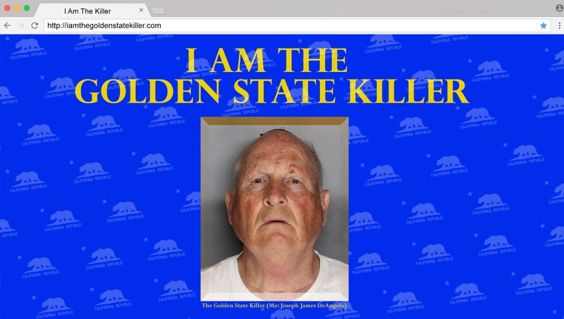 Illustration for article titled Police Found Golden State Killer By Tracing Owner Of 'IAmTheGoldenStateKiller.com' Website