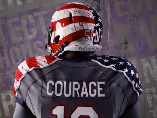 "Illustration for article titled Northwestern's Very Literal ""Wounded Warrior"" Unis Have Blood Spatters"