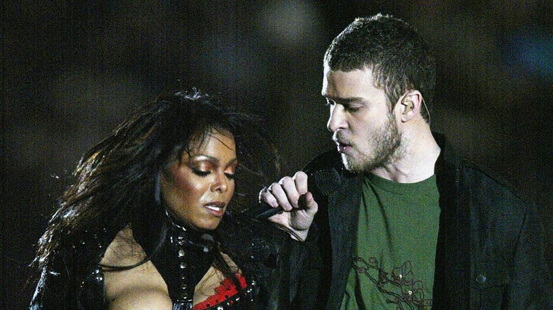 Justin Timberlake performs with Janet Jackson during the halftime show at Super Bowl XXXVIII on February 1, 2004 in Houston, Texas.