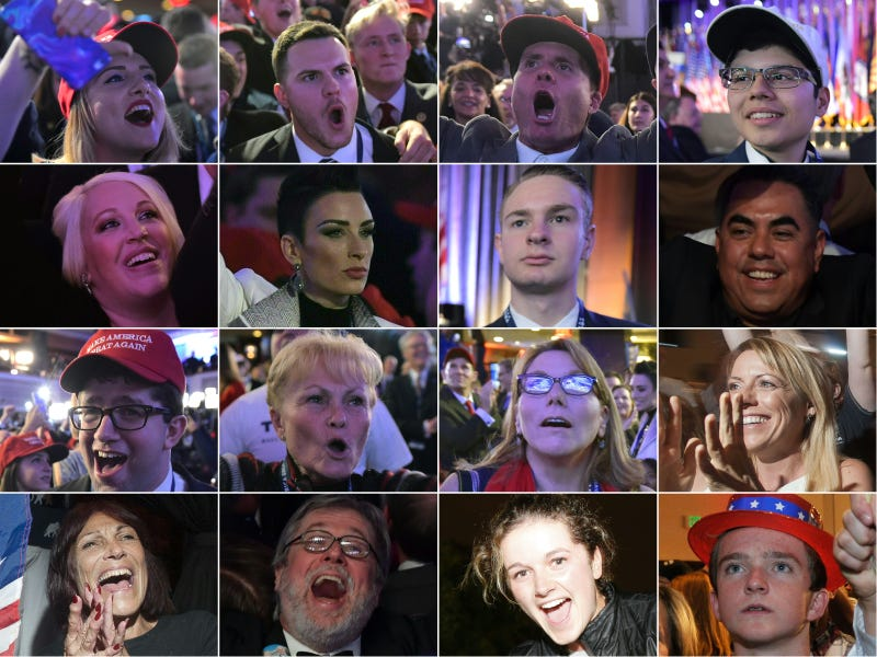This combination of pictures created on Nov. 9, 2016, shows supporters of Republican presidential nominee Donald Trump reacting to early results during election night in New York on Nov. 8, 2016.  Trump stunned America and the world when he defeated Hillary Clinton in the race to become the 45th president of the United States.MANDEL NGAN/TIMOTHY A. CLARY/JIM WATSON/LAURA SEGALL/ANDREW BIRAJ/JASON CONNOLLY/AFP/Getty Images