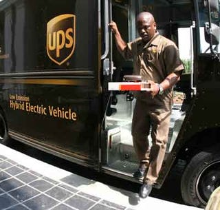 UPS driver delivers package.