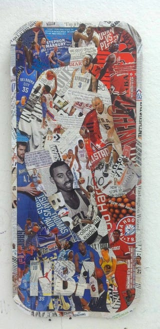 Illustration for article titled Someone Made An NBA Logo Collage Out Of Old Basketball Magazines