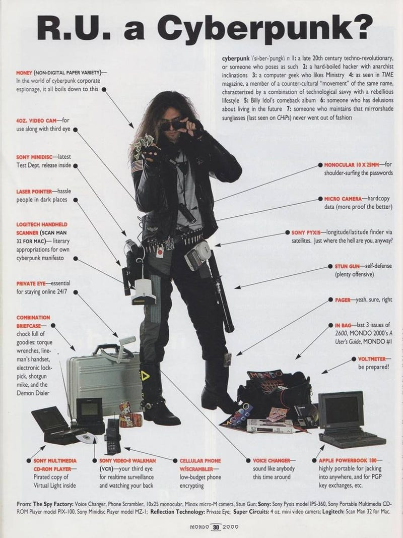 Illustration for article titled Are you a cyberpunk? This early 1990s poster explains it all to you.