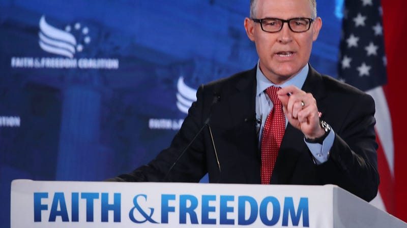 EPA chief Scott Pruitt speaking at the Faith and Freedom Coalition Road to Majority Policy Conference in DC in June 2018.