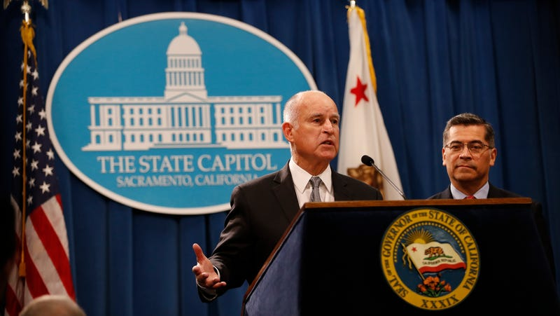 California Governor Jerry Brown speaks during a press conference at the California State Capitol on March 7, 2018 in Sacramento, California.