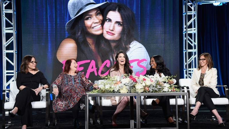 Executive producer Denise Di Novi, director Allison Anders, actresses Idina Menzel and Nia Long, and executive producer Alison Greenspan of Beaches onstage at TCA. (Photo: Frederick M. Brown/Getty Images)