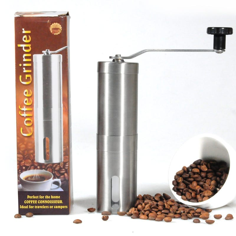 Illustration for article titled Medium Size Stanless steel Manual Ceramic Burr Coffee Grinder promotion storm coming! Save 30%,only $9.79 now!