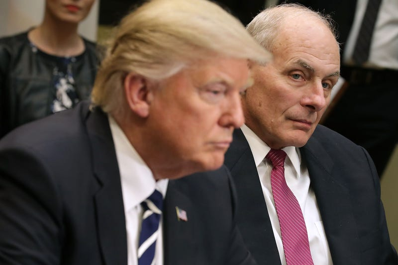 John Kelly (right) listens as President Donald Trump delivers remarks at the beginning of a meeting with government cybersecurity experts at the White House Jan. 31, 2017, in Washington, D.C. (Chip Somodevilla/Getty Images)