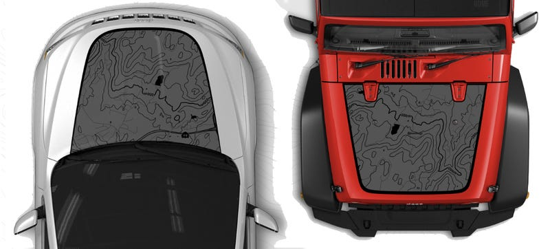 Illustration for article titled Jeep 'Custom Map Hood Decal' Is A Cheesy Accessory I Love