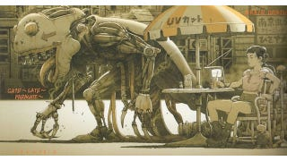 Illustration for article titled Concept Art Writing Prompt: A mechanical monster passes an outdoor cafe