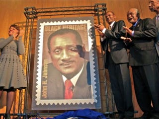 The unveiling of the John H. Johnson stamp (Blanca Palomar/Steed Media Service)