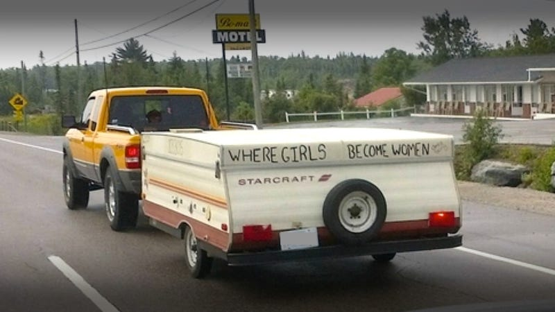 Illustration for article titled This Creepy Pop-Up Camper Is Apparently 'Where Girls Become Women'