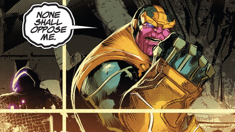 Requiem sneaking up on Thanos in the prelude, Infinity Wars Prime.