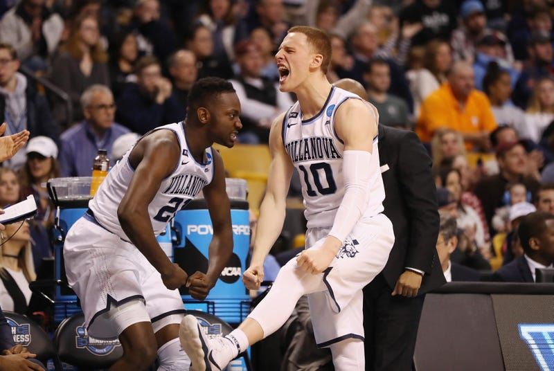 Donte DiVincenzo, No. 10, of the Villanova Wildcats reacts during the second half against the Texas Tech Red Raiders in the 2018 NCAA Men's Basketball Tournament East Regional at TD Garden on March 25, 2018, in Boston.