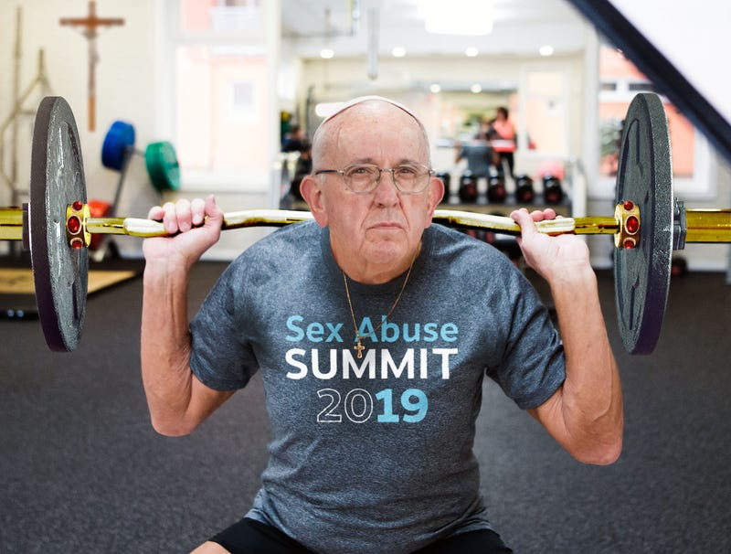 Illustration for article titled Pope Francis Working Out At Vatican Gym Wearing 'Sex Abuse Summit 2019' T-Shirt