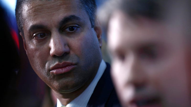 Ajit Pai, chairman of the Federal Communications Commission, attends a press conference at the Mobile World Congress wireless show, in Barcelona, Spain, Tuesday, Feb. 26, 2019.