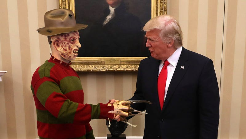 Illustration for article titled A Historic Summit: Donald Trump Just Finished A Marathon Day Of Diplomatic Talks With A Man In A Freddy Krueger Costume Who Introduced Himself As The King Of Scotland