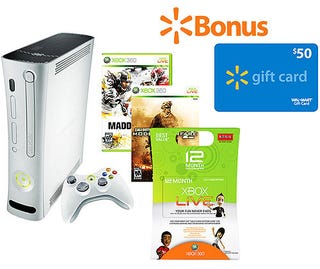 Illustration for article titled Dealzmodo, Xbox Edition: $20 Live Subs, $50 Walmart Gift Cards, Amazing Bundle Deals