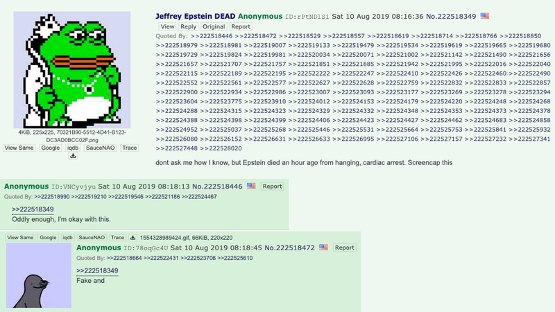 Illustration for article titled Someone Posted Details About Jeffrey Epstein's Death on 4Chan Before It Became Public