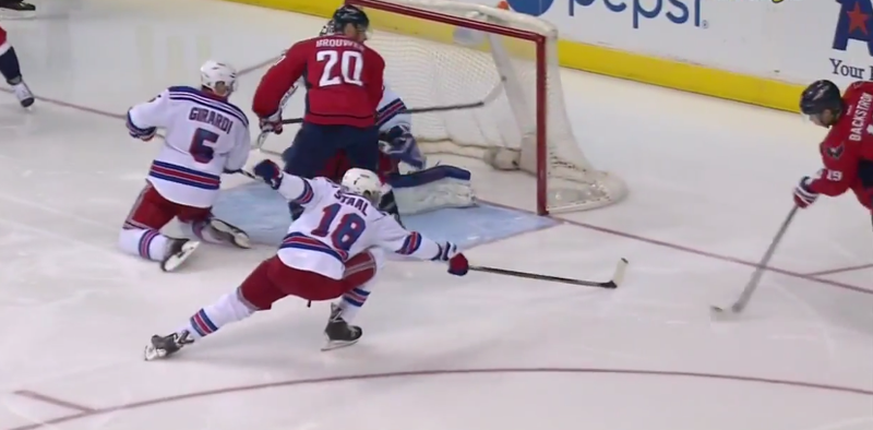 Illustration for article titled Rangers Goalie Cam Talbot Somehow Stopped This Shot