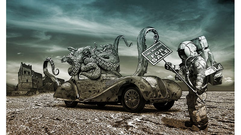 Illustration for article titled Concept Art Writing Prompt: Time Machine for Sale