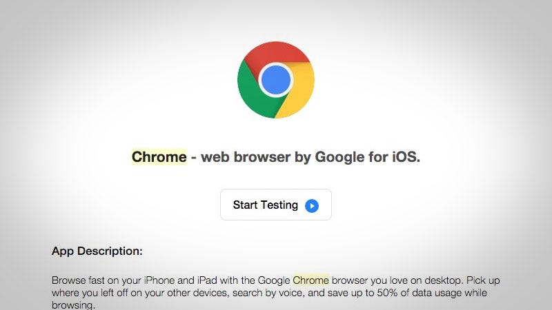 Sign Up for the Chrome Beta on iOS