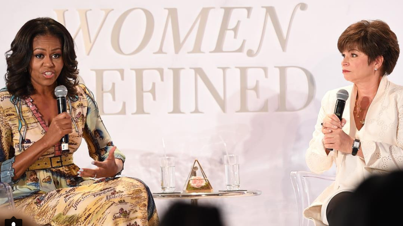 Former first lady Michelle Obama and Valerie Jarrett at BET Her's Leading Women Defined summit