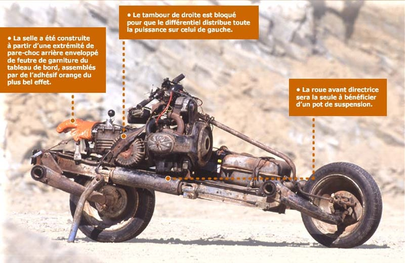 Illustration for article titled Stuck In Desert, Crazy Frenchman Builds Motorcycle Out Of Busted Citroën 2CV