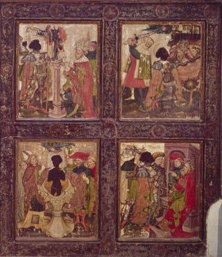 Scenes from the legend of St. Maurice. Panel from the wing of an altarpiece, circa 1433-35. Wood, 190 by 175 cm.St. Nicholas choir, Jüterbog, Germany