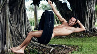 Illustration for article titled Helio Castroneves Naked In A Tire Swing Is One Way To Get My Attention