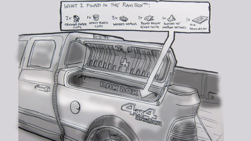 Illustration for article titled Livesketching the 2012 Detroit Auto Show: The Rambox of Treasures