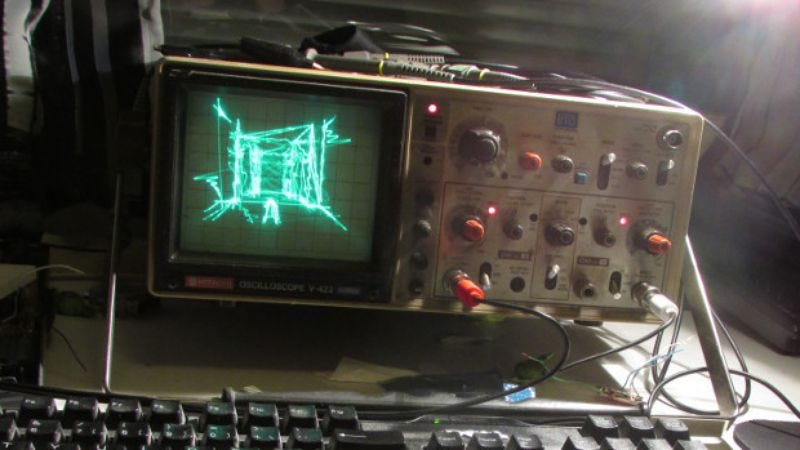 Illustration for article titled Now you can play Quake on an oscilloscope
