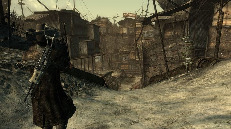 Megaton sheriff Lucas Simms stands at the entrance to his humble town