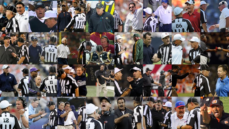 Illustration for article titled 32 Photos Of 32 NFL Coaches Yelling At The Scab Refs