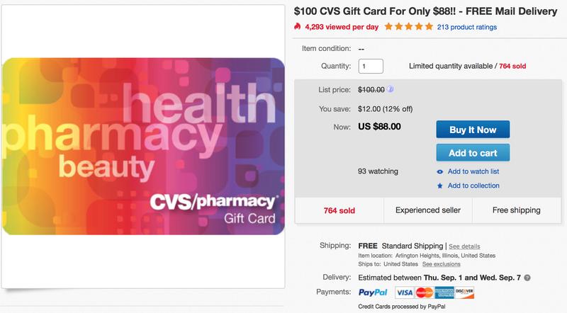 $100 CVS Gift Card, $88