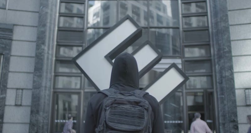 Elliot is visiting Evil Corp in the third season of Mr. Robot. Image: YouTube