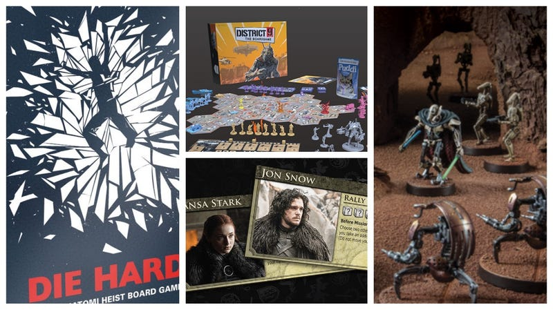 Clockwise from left: New games for Die Hard, District 9, Star Wars Episode II: Attack of the Clones, and Game of Thrones.