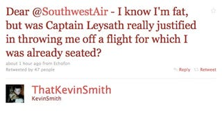"Illustration for article titled Kevin Smith Takes To Twitter After Being Thrown Off A Southwest Flight For Being ""Too Wide For The Sky"""