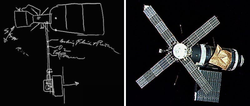 Illustration for article titled This Sketch Captured the Key Aspects of Skylab 2,460 Days Before it Launched