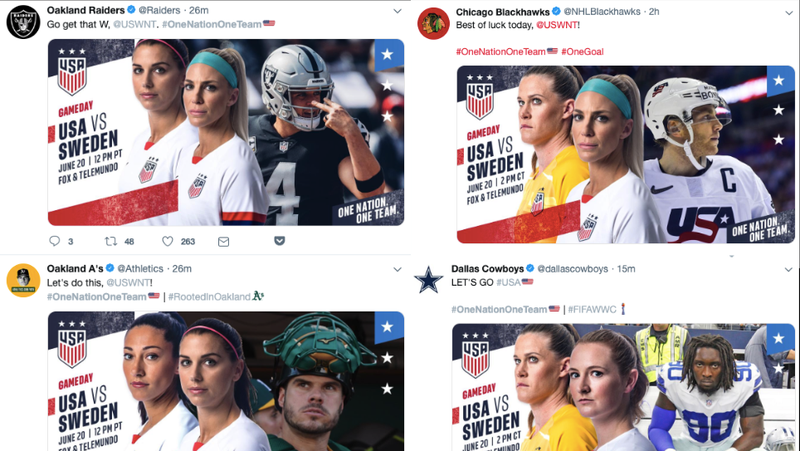 Illustration for article titled Men's Pro Teams Express Support For USWNT By Reminding Everyone That Guys Also Play Sports