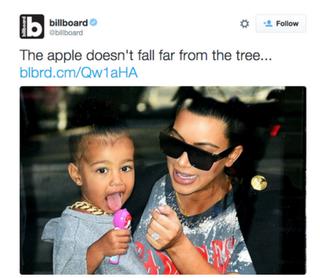 Billboard's now deleted tweet featuring North West and Kim Kardashian WestTwitter