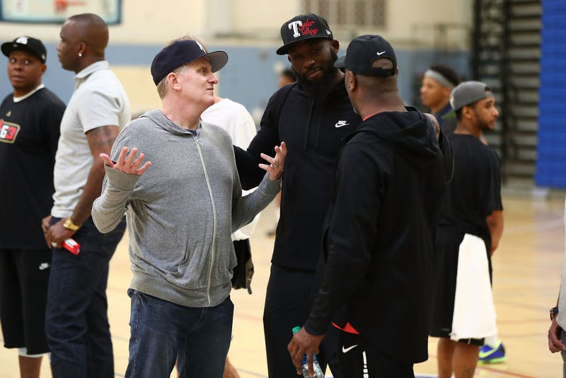 Michael Rapaport (center) at the Big3 Player Combine in Santa Monica, Calif., on April 11, 2018