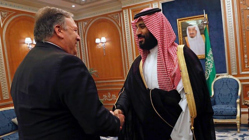 U.S. Secretary of State Mike Pompeo shakes hands with the Saudi Crown Prince Mohammed bin Salman in Riyadh, Saudi Arabia on Tuesday, October 16, 2018